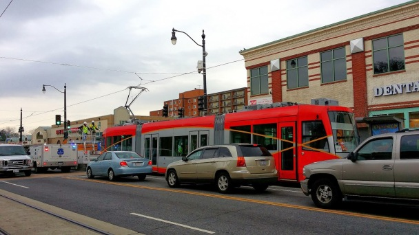 The curb-running H Street Streetcar, beholden to the mercy of traffic for all time