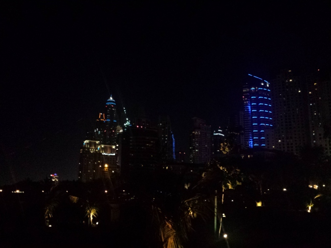 Dubai Marina at night, April 3, 2015.