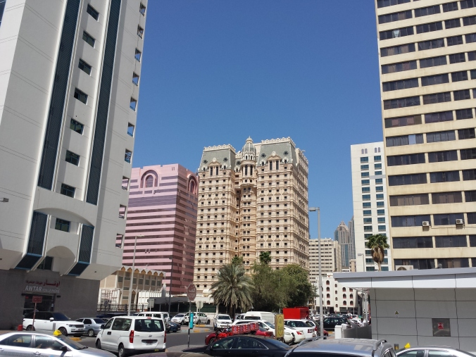 View of an especially distinct Abu Dhabi building taken from the interior roads of a superblock. April 6, 2015
