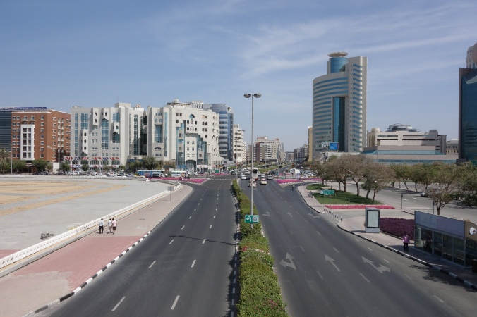 Intersection of Al Maktoum Road and Omar Bin Al-Khattab Road in Deira, Dubai. April 3, 2015.
