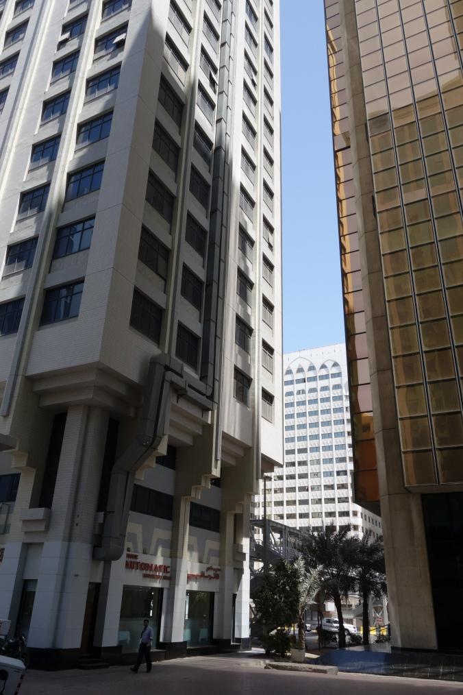 Pedestrian spaces between buildings and ground-floor retail, Abu Dhabi. April 6, 2015.